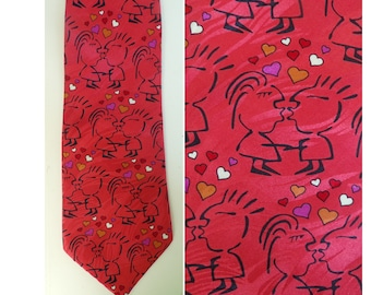 90s Red & Black Kissing Mens Tie, Valentines Day Tie, Kissing Tie, Heart Tie, Red Tie, Valentines Day Gift, Keith Daniels Tie,Hearts,Kissing