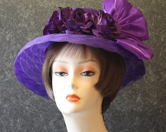 Purple Kentucky Derby Hat, Derby Hat, Garden Party Hat, Tea Party Hat, Easter Hat, Church Hat, Wedding Hat, Downton Abbey Purple Hat 752