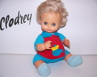 RARE vintage CLODREY 40 cm with functioning, gramophone doll from 1969 in POLYFLEX made in France