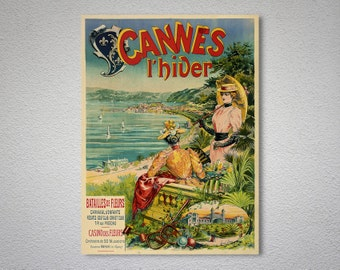 Cannes l'Hiver Vintage Travel Poster - Poster Print, Sticker or Canvas Print / Gift Idea