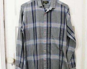 Vintage Gauzy Long Sleeve Blue and Gray Striped Shirt Men Sz Medium