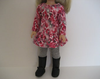 14.5 Inch  Doll Clothes--Pink Animal Print Dress Outfit made to fit dolls such as the Wellie Wishers doll clothes