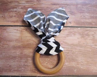 Wooden Teether, Teething Ring, Organic Teething Ring, Wooden Bunny Ear Teether, Montessori Teether - Black White Chevron/Gray White Stripes