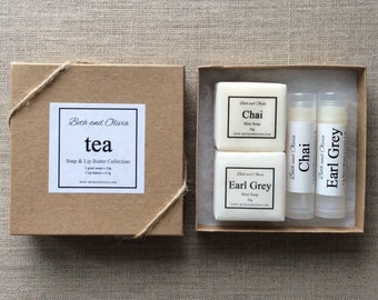 Tea Soap and Lip Butter Gift Set, lip balm gift set, soap gift set, chai gift set, guest soaps, Mother's Day gift, Earl grey gift set