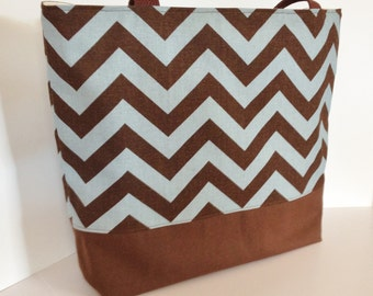 Chevron tote . Chevron beach bag . Denim Blue and Brown . standard size . great bridesmaid gifts . READY To SHIP