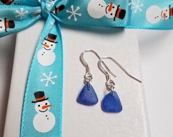 Frosty Cobalt Blue Puerto Rico Seaglass Dangle Earrings *FREE SHIPPING*