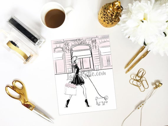 Shopaholic illustration, shopping addict, fashionista print, girly illustration, girly girl art, girly art, fashion sketch, dog lover