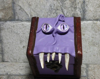 Mimic Desk Organizer Trinket Dice Box Small Storage Treasure Chest Stash Purple Leather Harry Potter Labyrinth Gamer MTG Card Box 259
