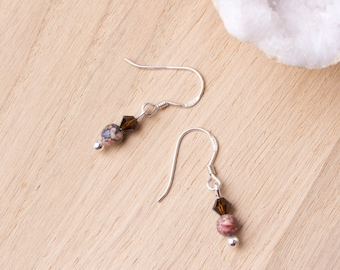 Gemstone crystal earrings - Swarovski crystal Leopardskin agate sterling silver earrings | Small dangle everyday earrings | Brown jewellery
