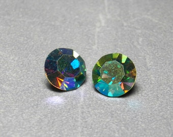 Vintage Swarovski Olivine AB Round Chatons 10.5mm (47ss) Faceted Crystal (2)