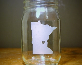 Custom State Love Mason Jar Glass