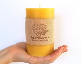 """Beeswax Candles   Pillar Candle   Beeswax Pillar   Send a Gift   Save the Bees   5""""x3""""   Rustic lighting   80 hours   Stress Relief Gifts"""