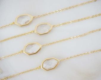 Crystal and Matte Gold Bracelet | Bridesmaid Bracelet | Wedding Jewelry