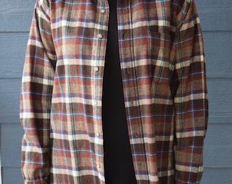 Vintage Brown Plaid Wool Pendleton Flannel, 100% Wool Pendleton Button Up Shirt