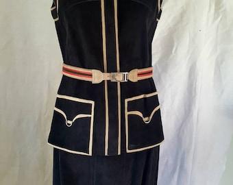 Baccarat, vintage clothing, Bill Gibbs Era, suede skirt, suede waistcoat, 1970's, A-line skirt, black skirt, black waistcoat, Size 8
