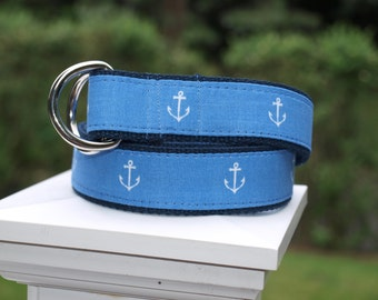Anchor Belt /  Blue and White Belt / Nautical Belt / Sailing Belt / Canvas Belt for Men