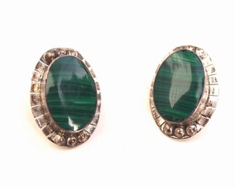 1980s Mexican green malachite and sterling silver earrings