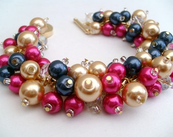 Bridal Jewelry, Wedding, Pearl Bridesmaid Bracelet, Cluster Bracelet, Navy Hot Pink Gold Pearl Bracelet, Ivory Pearl Jewelry