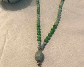 Necklace with Amazonite, Aventurine, Quartz Crystal