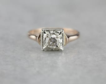 Mixed Era Diamond Ring, Solitaire Ring, Engagement Ring, Promise Ring, April Birthstone KAHL8D-P