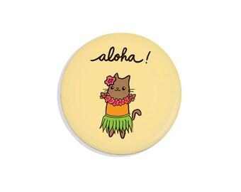 Cute Pin Badge Pinback Button Aloha Hawaii Hula Cat Pin Back Button Fridge Magnet Pocket Mirror Bottle Opener