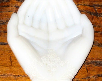 Vintage white milk glass hands jewelry dish trinkets Avon Wedding Decor