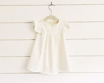 White Toddler Dress, Flutter Sleeve Dress, White Baby Dress, Christening Dress, Baptism Dress, Blessing Girls Dress, ivory dress