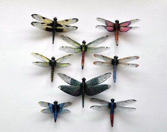Dragonfly Magnets,Clear wings, Set of 8, Insects, favors, decorations, nature, handmade