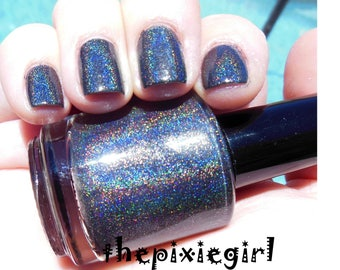 HOLOGRAPHIC Linear Rainbow Spectraflair Black Nail Polish Lacquer 15mL Full Sized Bottle