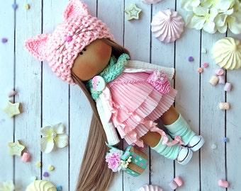 Doll cat Tilda Pink Textile doll Handmade doll Fabric doll Rouse doll Interior doll Cloth doll Rag doll Soft doll baby