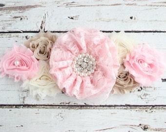 Pink Ivory Maternity Sash, Ivory Vintage Belt Photo Prop, Pregnancy Baby Shower Belly Sash, Pink Baby Shower, Mommy to Be Sash