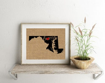 """Maryland (MD) """"Love"""" or """"Home"""" Burlap or Canvas Paper State Silhouette Wall Art Print / Home Decor (Free Shipping)"""