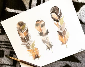 Watercolor feathers |  original painting | 8x10