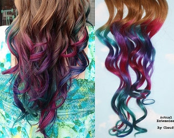 Handmade Ombre Pastel Tie Dye Tips Human Hair Extensions.