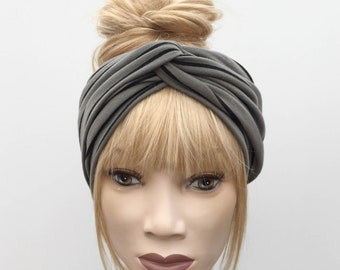 Khaki green and black stripe cotton jersey turban twist headband