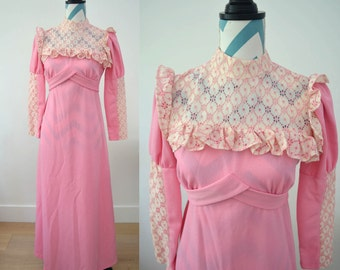 Vintage 60s Maxi Dress Pink with Lace Details - Long Sleeved Small