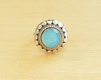 Caribbean Blue Chalcedony Ring // Chalcedony Jewelry // Sterling Silver // Village Silversmith
