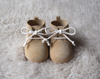 Leather Baby Shoes, Baby Moccasins, Sand Baby Lace Up Boots, Beige Baby Boy Oxford Shoes, Baby Moccs, Baby Girl Crib Shoes, Baby Shower Gift