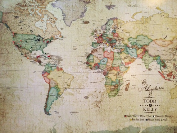 Vintage world map push pin world map world map pin board vintage world map push pin world map world map pin board world map world map map vintage inspired map 30x45 inches gumiabroncs Images