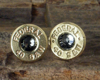Federl 40 S&W Bullet Earrings - Stud Earrings - Ultra Thin - Black Diamond