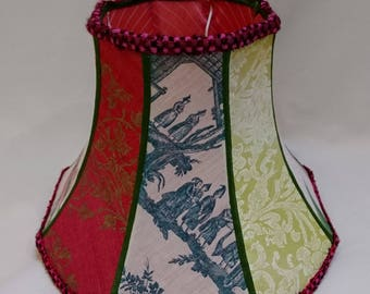 Sofia patchwork lampshade, pink and green lampshade, vintage soft-sided lampshade