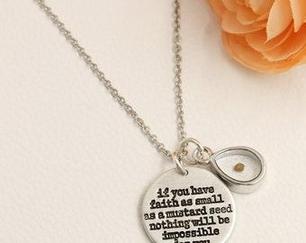 Mustard Seed Necklace - Inspirational Christian Gift - Faith as small as a mustard seed - mustard seed jewelry - Matthew 17:20 Jewelry