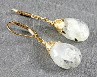Moonstone Earrings, Goldfilled wire wrap, milky white gemstone earrings, June Birthstone, bridal, wedding, gift for her, june birthstone