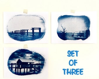 Seaside Cyanotypes, Set of Three Original Cyanotype Prints in Indigo Blue, Beach House Decor, Jetty Art