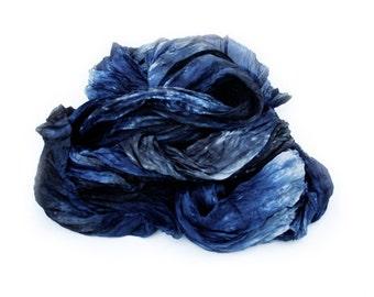 black silk scarf - Deep Blue Sea - black, navy blue, blue, grey silk scarf.