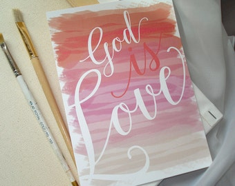 Watercolor GOD IS LOVE in Coral & Pinks Wedding Invitation Set - Sample