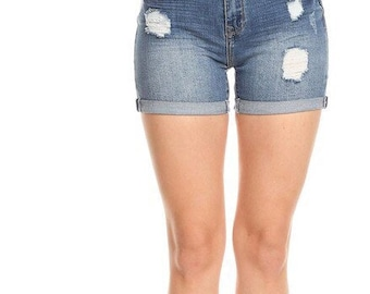 Distressed high waisted Jean Shorts/frayed shorts/Made to Order womens/summer shorts/plus size/clothing/All sizes/high waist