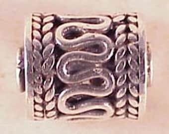 Bali Silver Barrel Bead 9mm B356 (2), Sterling Silver Bead, Bali Sterling Silver, Bali Silver Bead, Scrolls Bead, Bali Beads