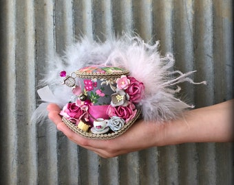 Micro Mini Top Hat, Tea Cup hat, Pink and Grey Flower Hat, Alice in Wonderland, Mad hatter hat, Tea party Hat, Mad Tea Party Hat