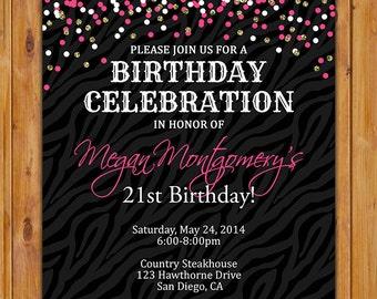 Hot Pink Confetti Surprise Birthday Invite 21st 30th Sweet Sixteen Gold Zebra Print Invitation Printable JPG File 5x7 (274)